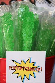 Superhero Party - Kryptonite - Sour Apple Rock Candy Sticks (Also candy POP rocks, Green Krispy Kryptonite Rice Krispies, Green Jello) Hulk Birthday Parties, Superman Birthday Party, Girl Superhero Party, Superhero Baby Shower, Avengers Birthday, Boy Birthday, Birthday Ideas, Superhero Party Favors, Super Hero Birthday