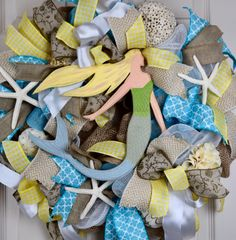 Mermaid Turquoise and Yellow Burlap and Mesh Wreath with Starfish; Nautical Beach Shore Decor Wreath; Summer Decor Wreath; Beach House Decor by ChewsieCreations on Etsy