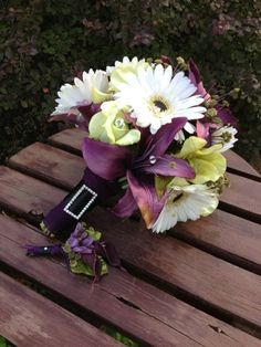 Purple Real Touch And  Silk Lily Bridal Bouquet and Grooms Boutonniere