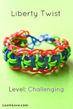 Liberty Twist Rainbow Loom Bracelet