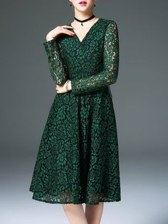 Green V Neck Guipure Lace Long Sleeve A-line Midi Dress