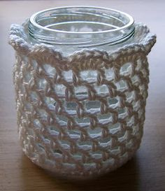 Crochet votive cover. I would make one row taller and weave ribbon through at top.