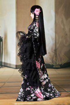 1/3Trisection purple sakura kimono - Angell Studio