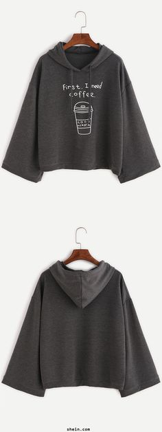 Cute batwing hoodie. Loose fit & beautiful on. Dark Grey Funny Print Hooded Sweatshirt at shein.com.