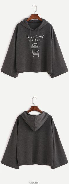 Cute batwing hoodie. Loose fit & beautiful on. Dark Grey Funny Print Hooded Sweatshirt at shein.com.
