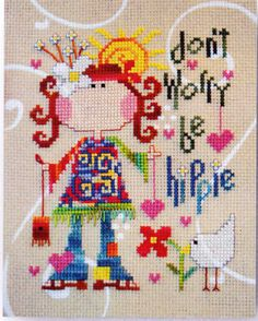 Be Hippie funky cross stitch chart Barbara Ana Designs $7.65