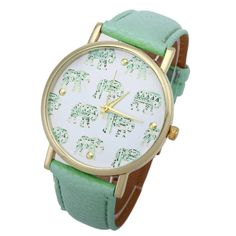 2017 New Fashion Girl watch Elephant Pattern Faux Leather Band Analog Quartz Dial Watch gift relogio feminino Dropshipping Trendy Watches, Women's Watches, Dress Watches, Ladies Watches, Cuir Rose, Elephant Pattern, Tribal Elephant, Pink Elephant, Artificial Leather