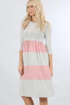 grey/pink block cinch knit dress