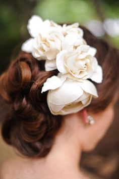 Fabric Hair Flower- love this trio of roses worn low and to the side, just behind the ear. Mine would be red, of course, and worn with a birdcage veil.