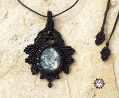 Makramé csomózott kézműves ásvány mohaachát obszidián onyx nyaklánc ékszer fekete fémmentes