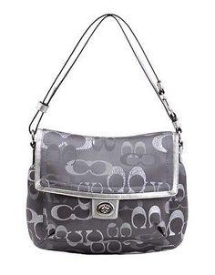 33bd3dd3ca1a NWT Signature Coach Penelope Optic Crossbody Handbag Grey Metallic $298  F20461