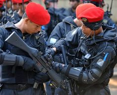 Indonesian Army Special Forces ''Kopassus'' operatives getting ready for a…