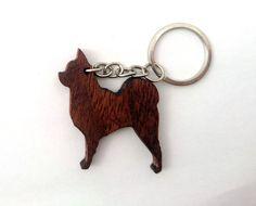 Wooden Chihuahua Dog Keychain Animal Keychain Dog от PongiWorks
