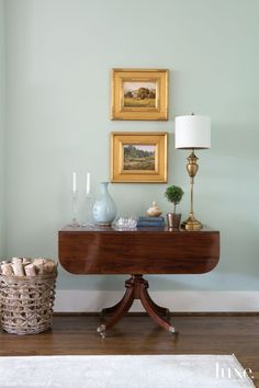 In the living room, interior designer Jennifer Leonard mixes vintage furnishings like this drop leaf side table with more modern pieces like the woven basket. Furniture Styles, Furniture Design, Furniture Vintage, Pipe Furniture, Furniture Decor, Living Room Furniture, Living Room Decor, Living Rooms, Living Spaces