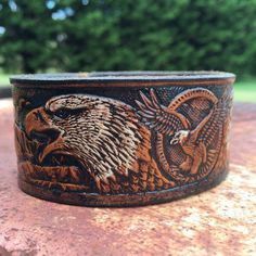 Tooled Leather Bald Eagle Cuff  Vintage by SnakeMountainGoods