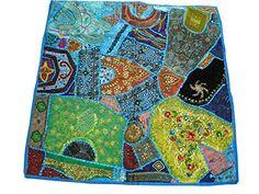 Indian Sari Table Cloth Deep Sea Blue Square Embroidered Wall Hanging Decor Mogul Interior http://www.amazon.com/dp/B00L9WZOXQ/ref=cm_sw_r_pi_dp_rH4Qtb0QSRY3ERP3
