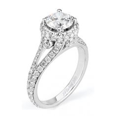 Distinctive split shank details give way to stunning side details and a unique u-set halo.Diamond info: (centerstone not included) Split Shank Engagement Rings, Engagement Ring Styles, Halo Diamond Engagement Ring, Diamond Wedding Bands, White Gold Wedding Rings, Fashion Rings, Jewelry, Unique, Thursday