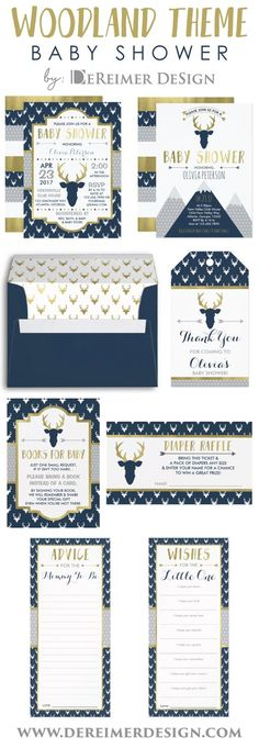 Woodland Baby Shower Items in Navy Blue, Gold, and Gray, Invitations, Envelope, Book Card, Diaper Raffle, Antlers