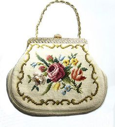 oversized vintage needlepoint purse