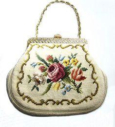 oversized vintage needlepoint purse