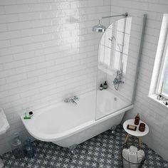 Appleby 1700 Roll Top Shower Tub with Screen + Chrome Leg Set Top Bathroom Design, Shower Bath, Small Bathroom, Bathroom, Bathroom Renovations, Tub Shower Combo, Cottage Bathroom, Luxury Bathroom, Bathtub