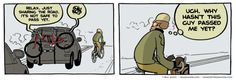 """""""I've come to expect motorists to be inconsiderate and pass too closely. It always catches me off guard when they're not. Bike Illustration, Guys, Comics, Memes, Moon, Culture, Twitter, The Moon, Meme"""