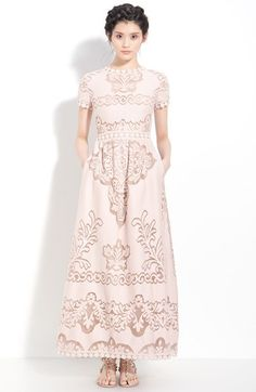 Free shipping and returns on Valentino Point de Flandres Lace Gown at Nordstrom.com. Pale pink colors a wildly romantic gown fashioned with swirling insets of point de Flandres lace.