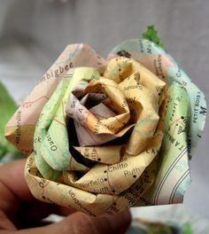 boutonniere made from vintage maps
