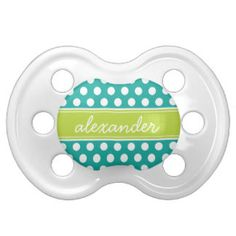 Teal and Green Polka Dots Monogram BooginHead Pacifier