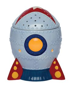 """NEW #Scentsy Warmer - Blast Off!!  The sky is no limit with """"Blast Off"""". This fun rocket ship with red detailing and lit glass window is made for kids (or adults) who dare to dream.  $35"""