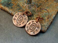 Handmade Copper Dangle Earrings, Copper Metal Clay, Artisan Handmade, Rustic Handcrafted, Sundance Style