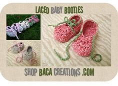 PDF Pattern - Laced Baby Booties -( 0/3, 3/6, 6/12 & 12/18 Months)