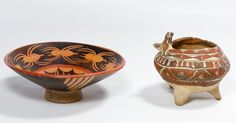 Lot 153: Pre-Columbian Style Pottery Bowls; Two unmarked items including a footed bowl with a painted spider motif and a tripod footed bowl with a bird form on the rim