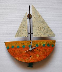 Metal Wall Clock, Handmade,  Sailing Boat   #Oxido #Contemporary