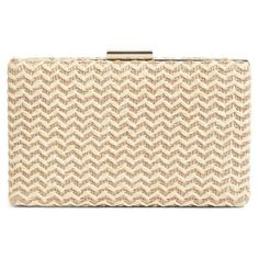 Women's Glint Straw Minaudiere ($46) ❤ liked on Polyvore featuring bags, handbags, clutches, natural chevron, woven straw handbags, chain strap handbags, beige handbags, chain handle handbags and chevron print purses