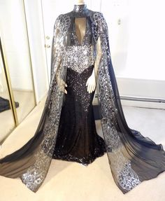 DRAG QUEEN MORGAN WELLS FAB. BLACK & SILVER SEQUIN SPARKLE CAPE GOWN! SIZE 16-20 #MORGANWELLSDESIGNS #StretchBodycon #Formal
