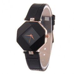 Fashion Women 3 Colors Ladies Watch Rhinestone Synthetic Leather Band Analog Quartz Casual Wristwatch