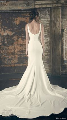 sareh nouri fall 2018 bridal sleeveless with strap v neck simple clean bodice elegant classic fit and flare trumpet wedding dress open scoop back chapel train (11) bv -- Sareh Nouri Fall 2018 Wedding Dresses