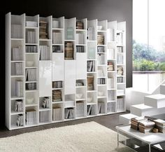 Home library design with modern interior decoration. For those of you who love books get a personal public library to your home architecture Bibliotheque Design, Home Library Design, Muebles Living, Wall Bookshelves, Wall Shelves, Diy Home Decor, Room Decor, Living Room Tv, Office Interiors