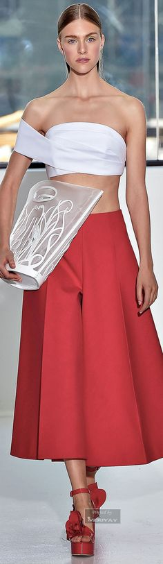 Delpozo | Spring 2015 | https://www.delpozo.com/  Very interesting summer / tropical look. I don't care for the purse and shoes.