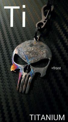 View Item: Titanium Ti Punisher Skull Zipper EDC Keychain Survival Tactical like ill gear