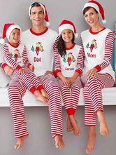 Family Christmas Pajamas Mom White Pants With Top Printed Striped Morning  Pajamas 7119c0259