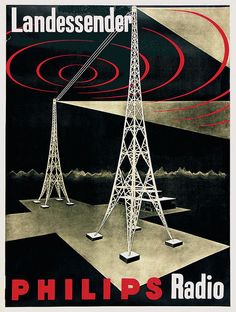 Philips Radio poster promoting Radio Switzerland's Beromünster transmitter in the canton of Lucerne (1931).