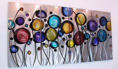 "multi colored metal wall art   Wild Flowers"" 44""x24"" Modern Abstract Metal Wall Art Sculpture Decor ..."