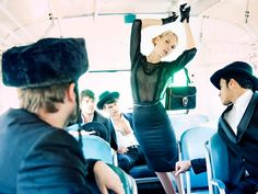 Israeli fashion magazine BelleMode is striking back with a photo spread in which scantily-clad men and women assume a variety of provocative poses on a bus, mocking both the puritanism of the ultra-Orthodox and their covert sexual fantasies.