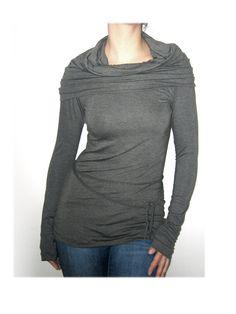 Charcoal  tunic  grey tunic   cowl neck  extra long by jaworska, $55.00