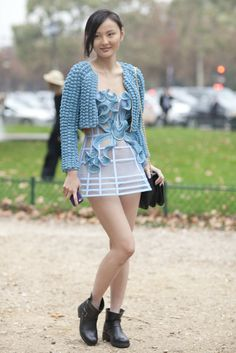 Très Chic! The Best Street Snaps at Paris Fashion Week: Lace that's a little more sexy than ladylike.  : Feminine and polished from head to toe.  : A look-at-me outfit that was made for PFW.