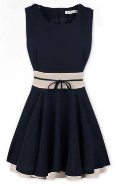 moda colores surtidos falbala dobladillo cortado vestido sin mangas de la cintura