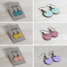 Wooden Disk Earrings - Emiti Designs - green, yellow, pink, peach, purple