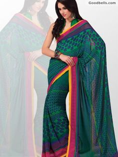 Now you can buy cheapest Multi Pattern Designer Printed Green Saree online in just $35.00 from http://goodbells.com/saree/multi-pattern-designer-printed-green-saree.html?utm_source=pinterest_medium=link_campaign=pin25mayR15P903